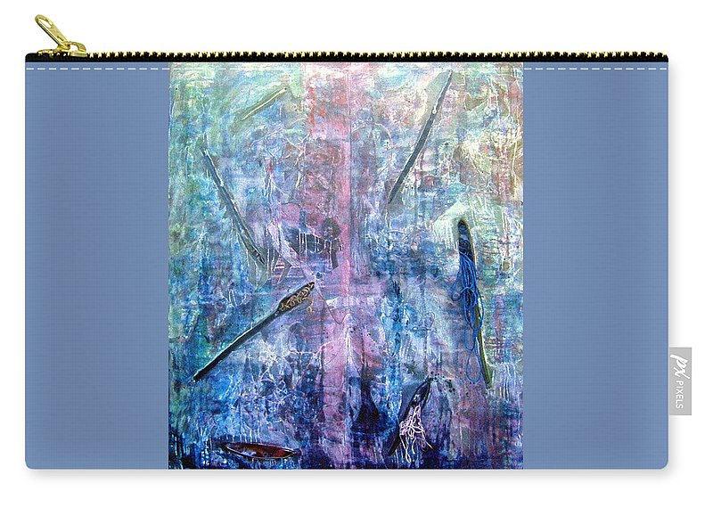 Abstract Carry-all Pouch featuring the painting Seven Zippers by Nancy Mueller