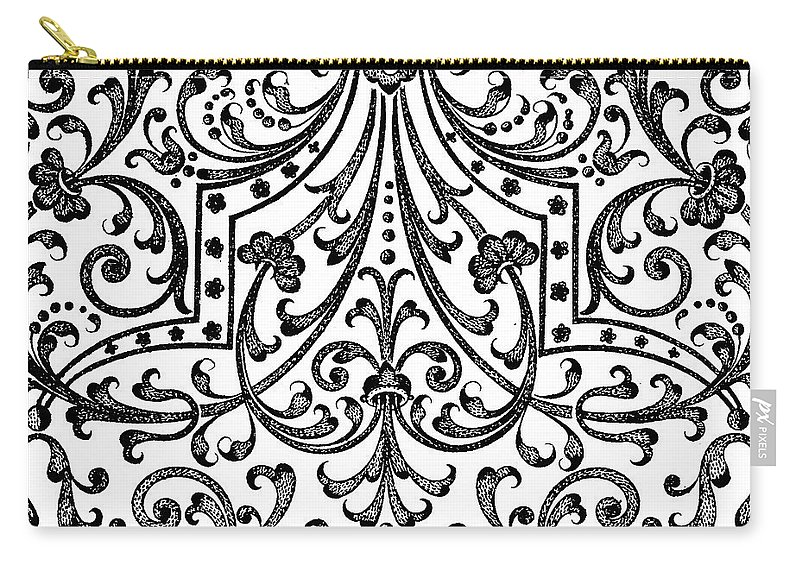 Vintage Carry-all Pouch featuring the drawing Seventeenth Century Parterre Pattern Design by Jacques Mollet