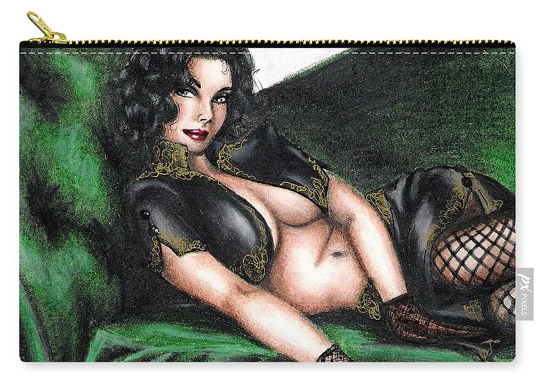 Figure Carry-all Pouch featuring the drawing Sexy Flirt by Scarlett Royal