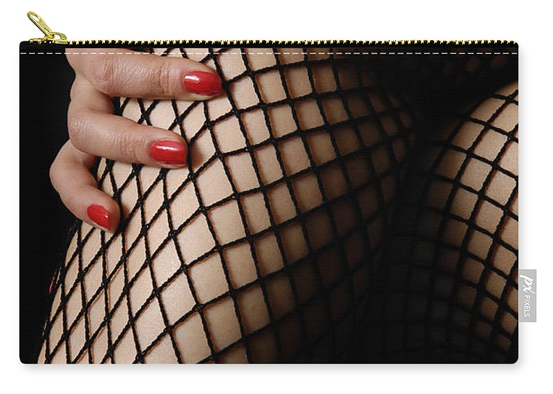 Legs Carry-all Pouch featuring the photograph Sexy Legs In Fishnet Stockings by Oleksiy Maksymenko