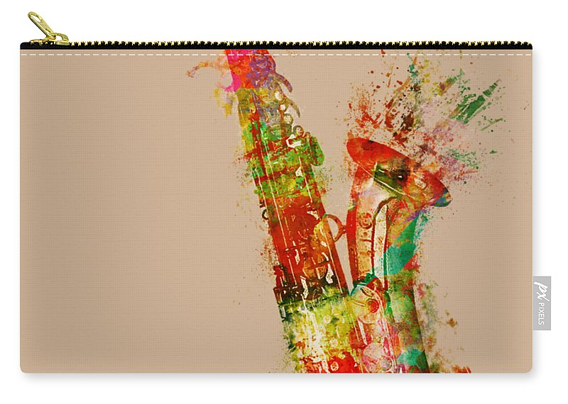 Saxophone Carry-all Pouch featuring the digital art Sexy Saxaphone by Nikki Smith