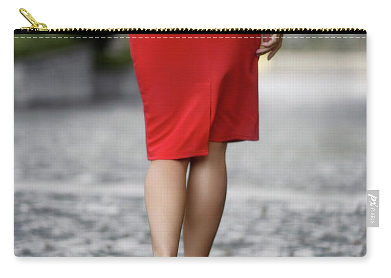 Woman Carry All Pouch Featuring The Photograph Sexy Woman Wearing Red Dress And High Heels