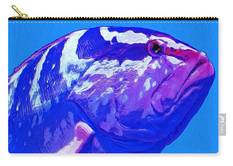 Fish Carry-all Pouch featuring the painting Seymour by Dominic Piperata