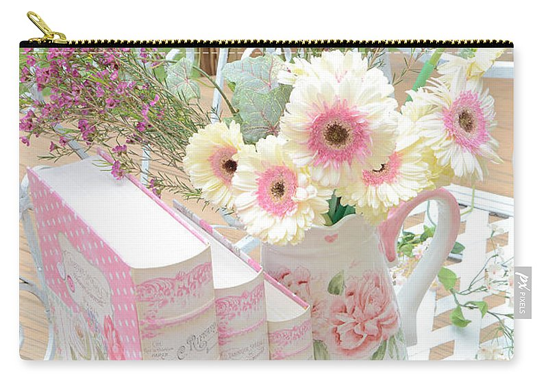 Shabby Chic Daisies Art Carry-all Pouch featuring the photograph Shabby Chic Pink And Yellow Gerber Daisies Floral Art - Spring Cottage Daisies Floral Art by Kathy Fornal