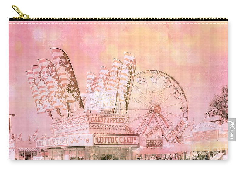 Carnival Carry-all Pouch featuring the photograph Pink Carnival Prints - Shabby Chic Cotton Candy Pink Carnival Ferris Wheel by Kathy Fornal