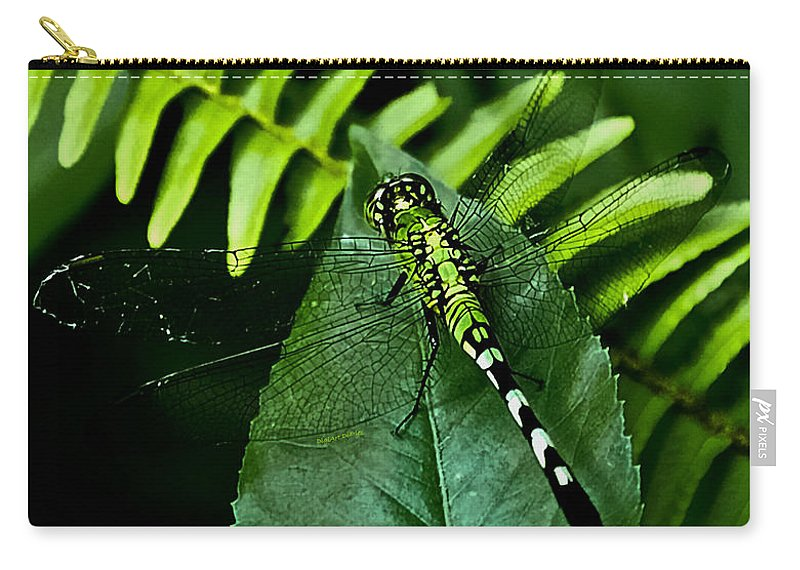 Dragonfly Carry-all Pouch featuring the digital art Shades Of Green by DigiArt Diaries by Vicky B Fuller