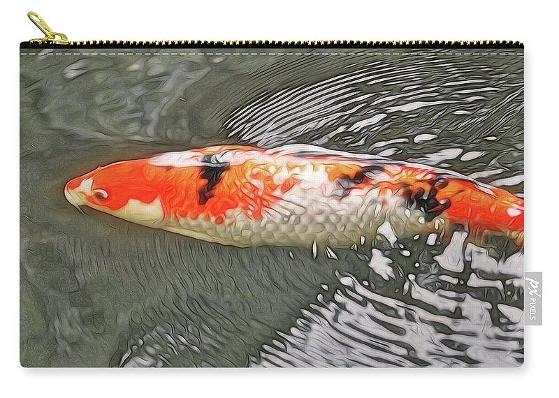 Abstract Art Carry-all Pouch featuring the photograph Shades Of Koi by David Coleman