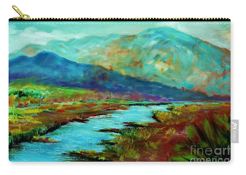 Mountains Carry-all Pouch featuring the pastel Shadow Brook by Melinda Etzold