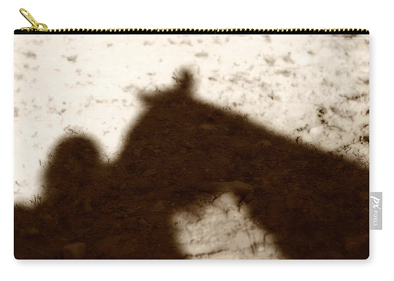 Shadow Carry-all Pouch featuring the photograph Shadow Of Horse And Girl by Angela Rath