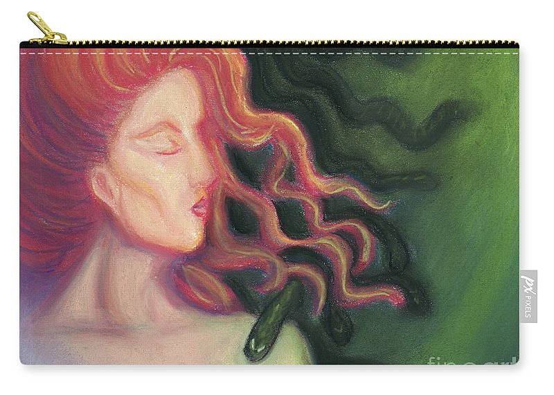 Goddess Carry-all Pouch featuring the painting Shadow Of Medusa by Cassandra Geernaert