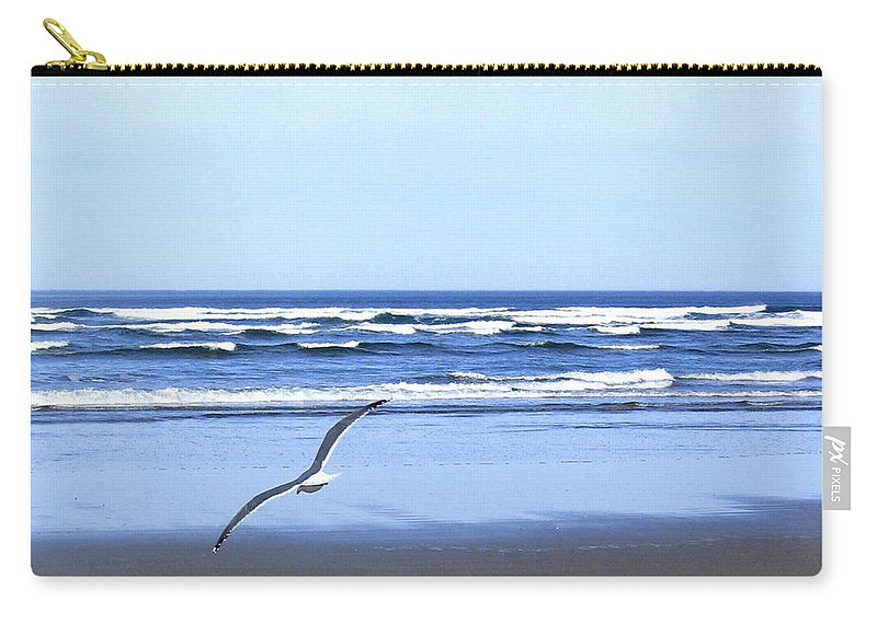 Seagull Carry-all Pouch featuring the photograph Shadow On The Sand by Will Borden