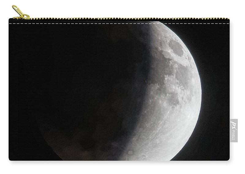 Moon Carry-all Pouch featuring the photograph Shadowed Moon by Brian Kenney