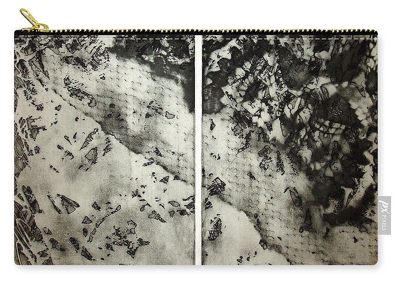 Etching Carry-all Pouch featuring the drawing Shadows And Lace by Nancy Mueller