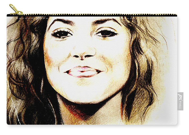 Shakira Carry-all Pouch featuring the drawing Shakira by Lin Petershagen
