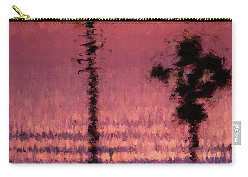 Palms Carry-all Pouch featuring the digital art Shaky Palms by Stevie Benintende