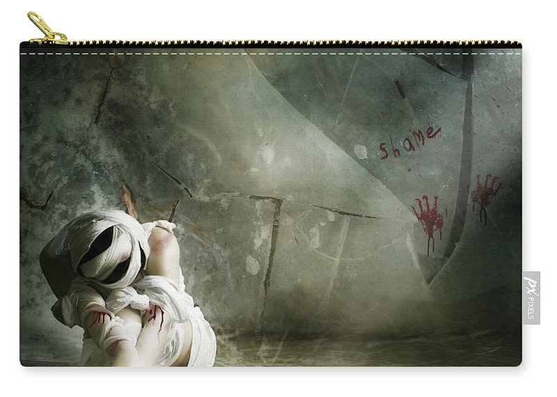 Woman Carry-all Pouch featuring the digital art Shame by Karen Koski
