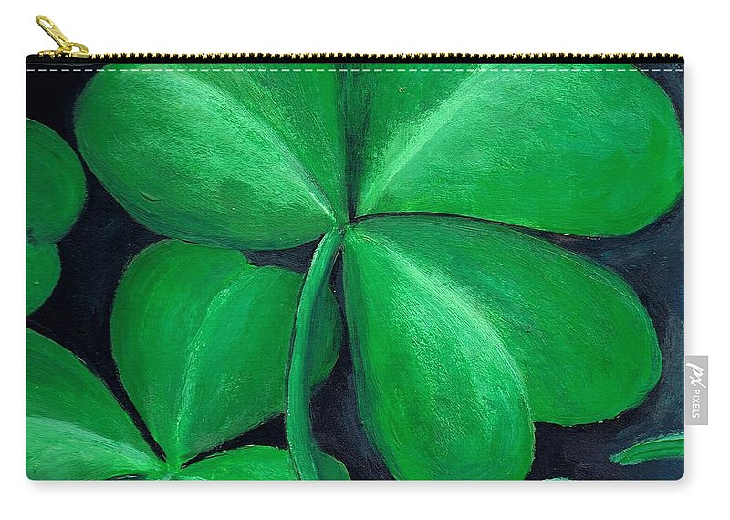 Shamrock Carry-all Pouch featuring the painting Shamrocks by Nancy Mueller