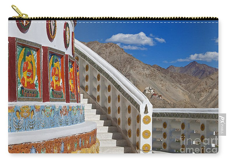 Shanti Stupa Carry-all Pouch featuring the photograph Spiritual Journey.. by Nina Stavlund