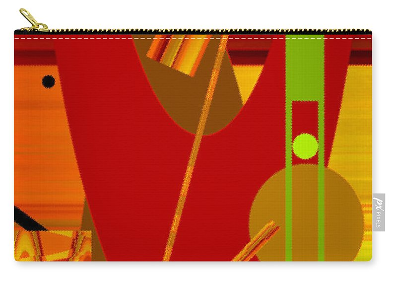 Abstract Carry-all Pouch featuring the digital art Shapes And Patterns In Red by Ruth Palmer