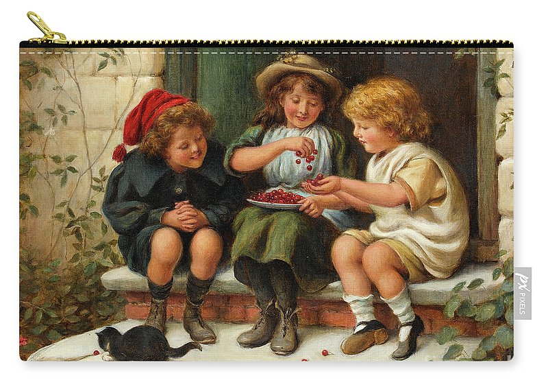 Sharing Carry-all Pouch featuring the painting Sharing The Cherries by Joseph Clark