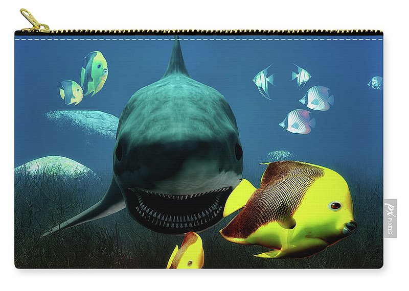 Shark Carry-all Pouch featuring the digital art Shark And Fishes by Ramon Martinez