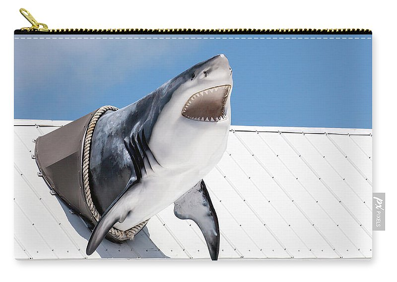 Key Largo Carry-all Pouch featuring the photograph Shark Attack by Art Block Collections