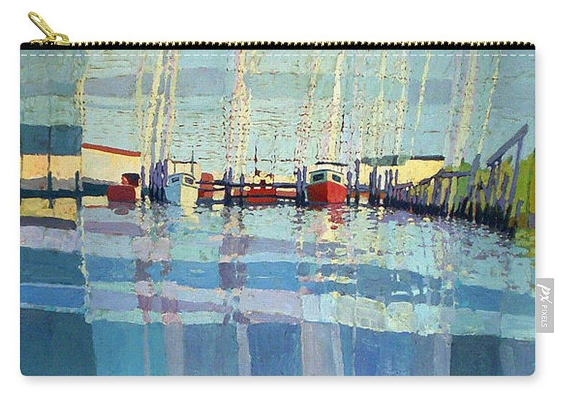 Belmar Inlet Carry-all Pouch featuring the painting Shark River Inlet by Donald Maier