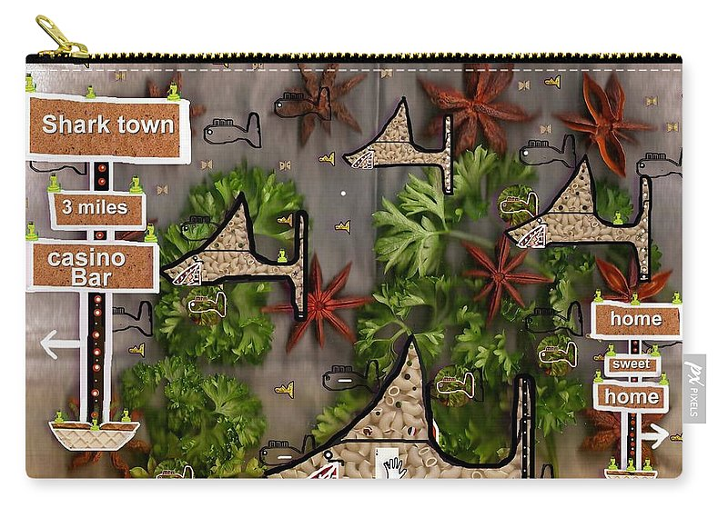 Fish Carry-all Pouch featuring the mixed media Shark Town by Pepita Selles