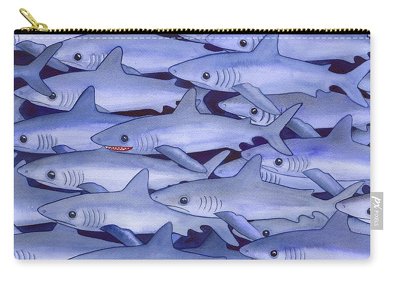 Shark Carry-all Pouch featuring the painting Sharks by Catherine G McElroy