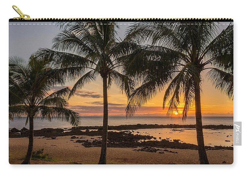 Sharks Cove Palm Tree Sunset Beach North Shore Oahu Hawaii Hi Seascape Carry-all Pouch featuring the photograph Sharks Cove Sunset 4 - Oahu Hawaii by Brian Harig