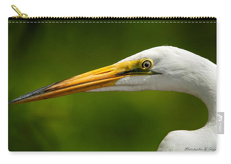 Egret Carry-all Pouch featuring the photograph Sharp Curve by Christopher Holmes