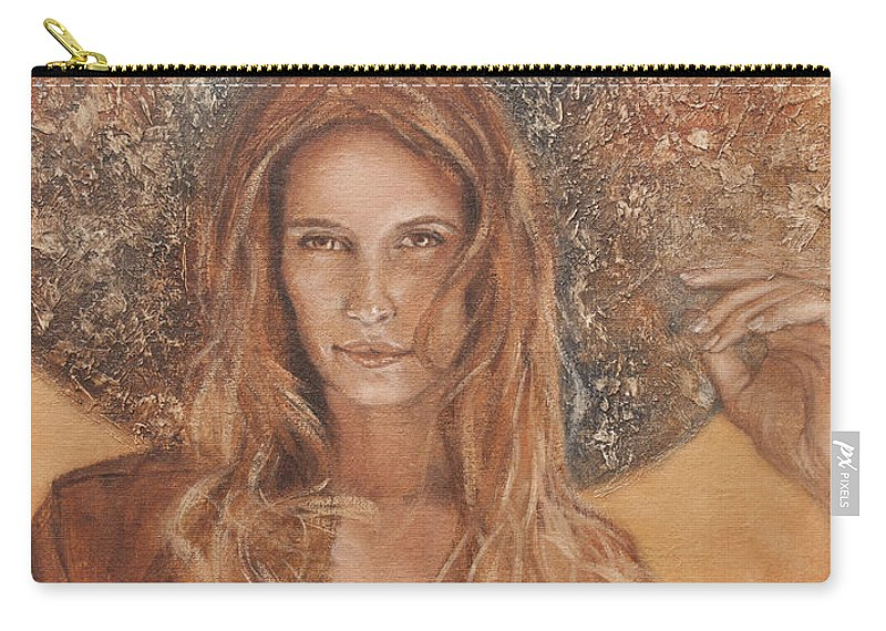 Portrait Carry-all Pouch featuring the painting She by Darko Topalski