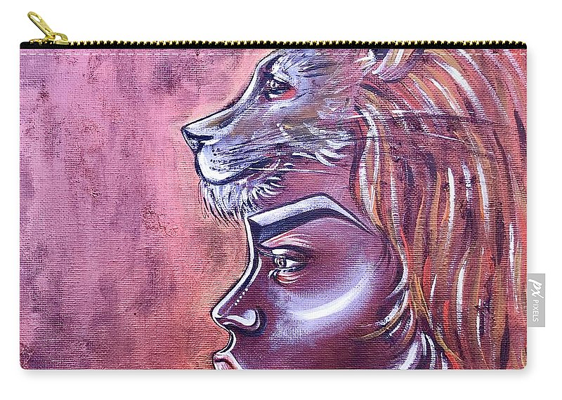 Lion Carry-all Pouch featuring the painting She Has Goals by Artist RiA