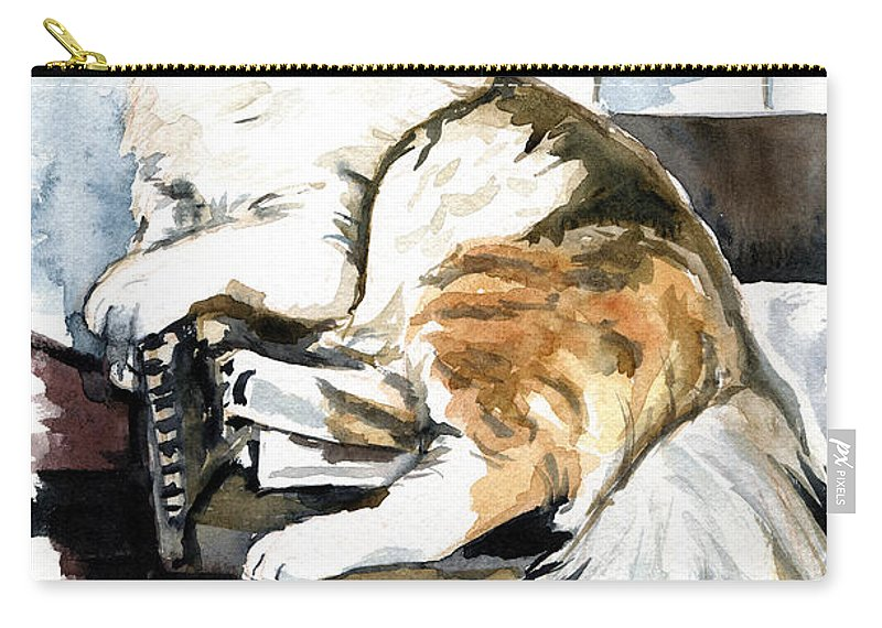 Cats Carry-all Pouch featuring the painting She Has Got The Look - Cat Portrait by Dora Hathazi Mendes