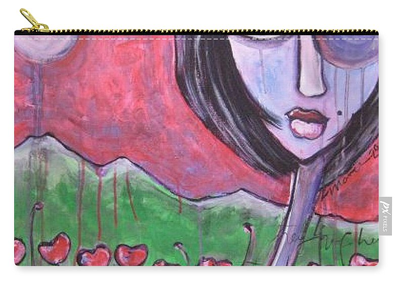 Poppies Carry-all Pouch featuring the painting She Loved the Poppies by Laurie Maves ART