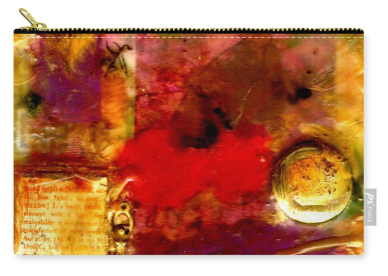 Wax Carry-all Pouch featuring the mixed media She Wants Gold For Her Cherries by Angela L Walker
