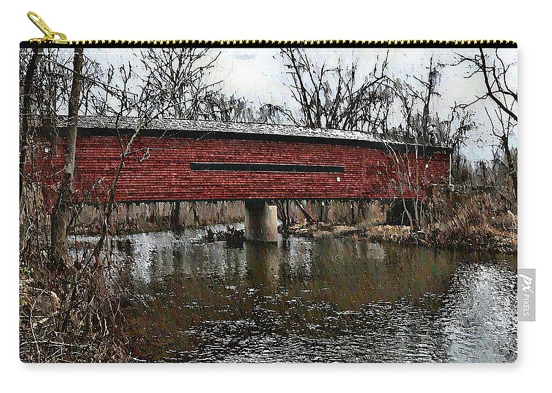 French Creek Carry-all Pouch featuring the photograph Sheeder - Hall Covered Bridge by Bill Cannon