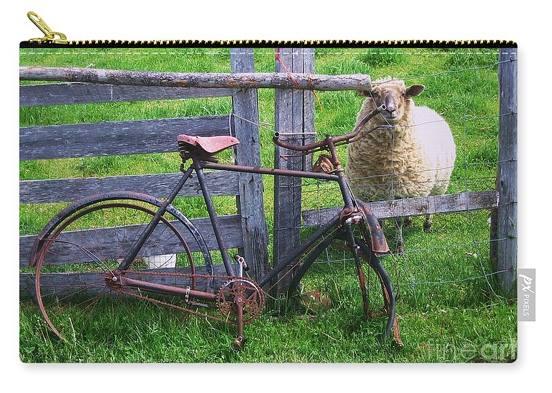 Photograph Sheep Bicycle Fence Grass Carry-all Pouch featuring the photograph Sheep And Bicycle by Seon-Jeong Kim