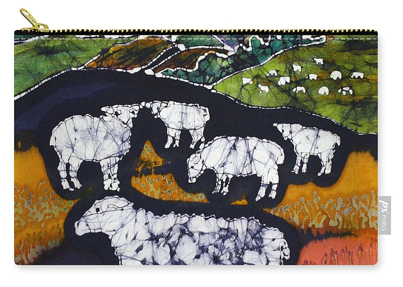 Sheep Carry-all Pouch featuring the tapestry - textile Sheep At Midnight by Carol Law Conklin