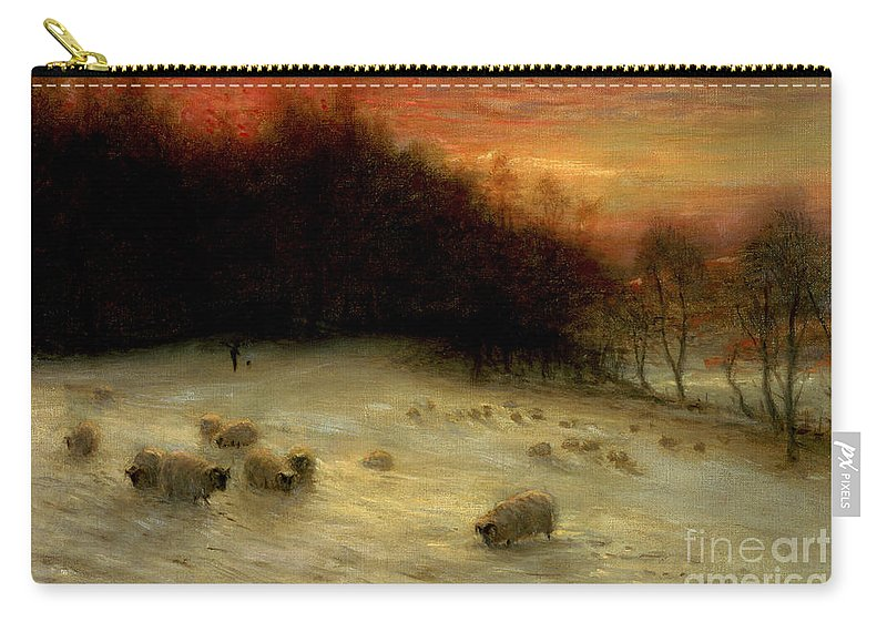 Sheep Carry-all Pouch featuring the painting Sheep In A Winter Landscape Evening by Joseph Farquharson