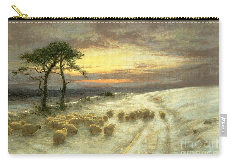 Sheep Carry-all Pouch featuring the painting Sheep In The Snow by Joseph Farquharson