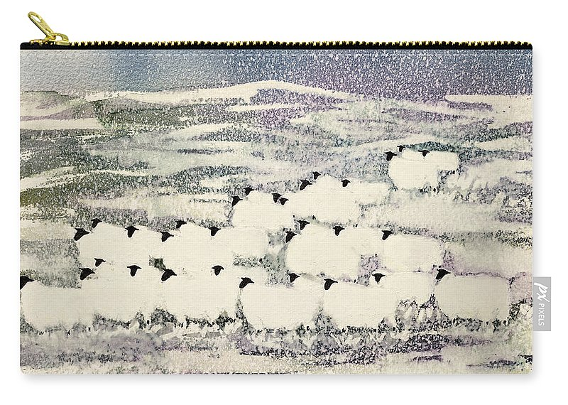 Sheep In Winter By Suzi Kennett (contemporary Artist) Carry-all Pouch featuring the painting Sheep In Winter by Suzi Kennett