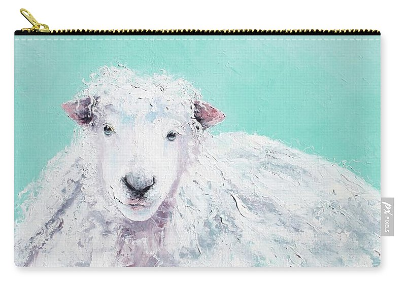 Sheep Carry-all Pouch featuring the painting Sheep Painting - Jeremiah by Jan Matson