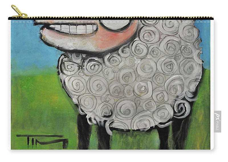 Sheep Carry-all Pouch featuring the painting Sheep Poster by Tim Nyberg