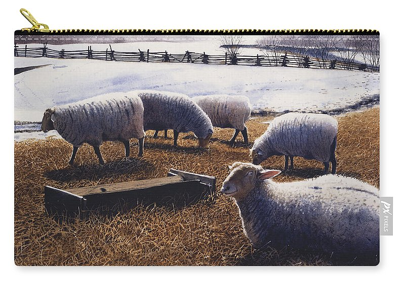 Sheep Carry-all Pouch featuring the painting Sheepish by Denny Bond