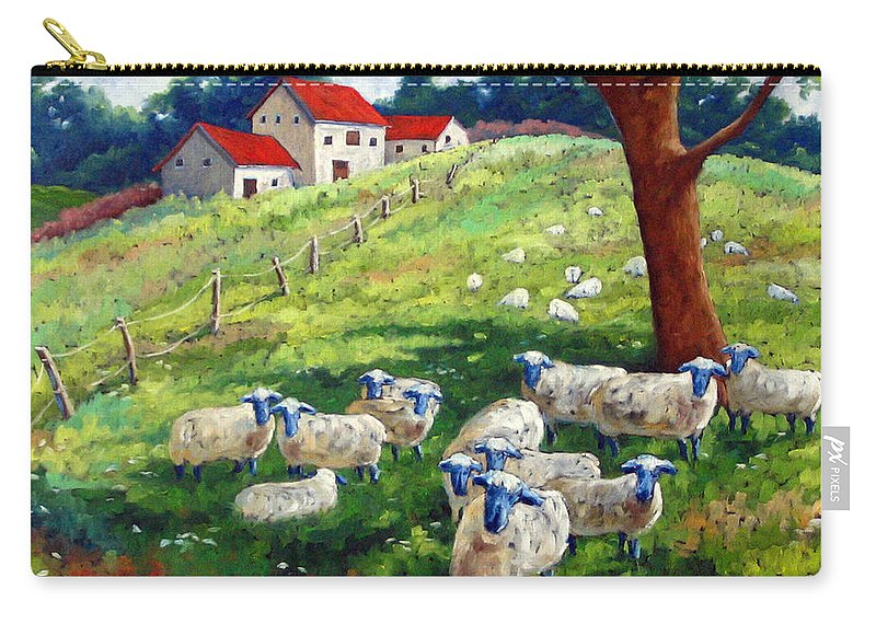 Sheep Carry-all Pouch featuring the painting Sheeps In A Field by Richard T Pranke