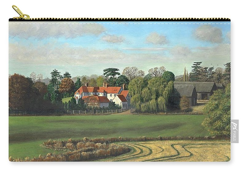 Landscape Carry-all Pouch featuring the painting Sheering Hall Near Harlow Essex by Richard Harpum