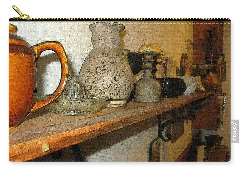 Bibelots Carry-all Pouch featuring the digital art Shelf With Things Treasured by RC DeWinter