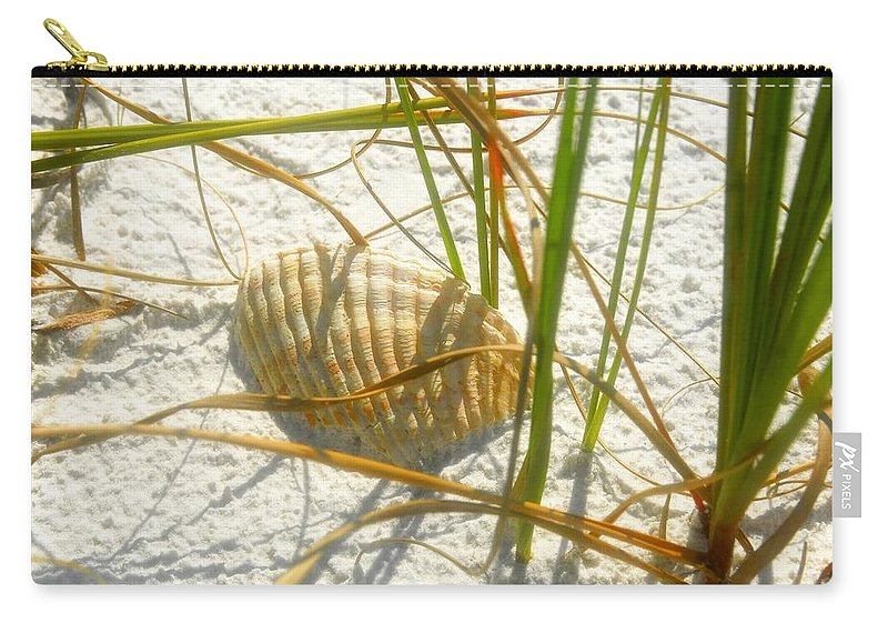 Sea Shell Carry-all Pouch featuring the photograph Shell And Beach by David Lee Thompson