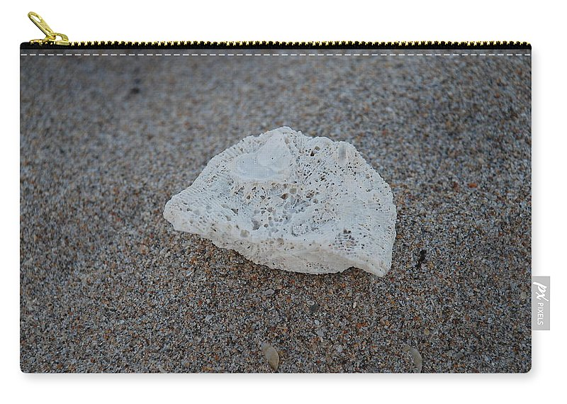 Shells Carry-all Pouch featuring the photograph Shell And Sand by Rob Hans